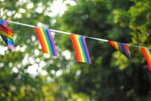 rainbow coloured bunting