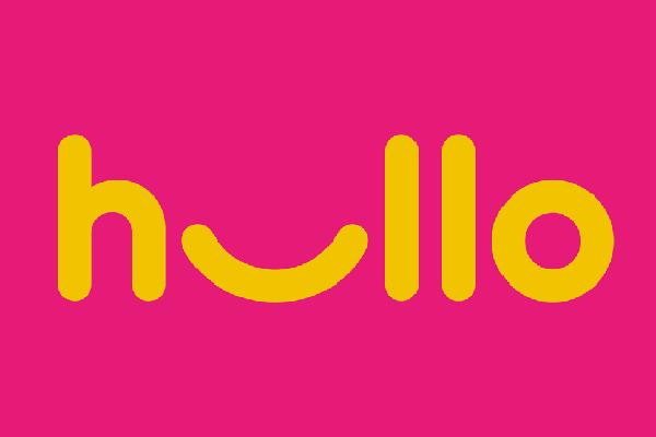 hullo logo pink background