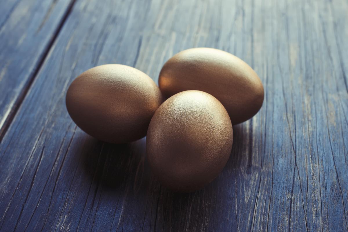 golden eggs on wood