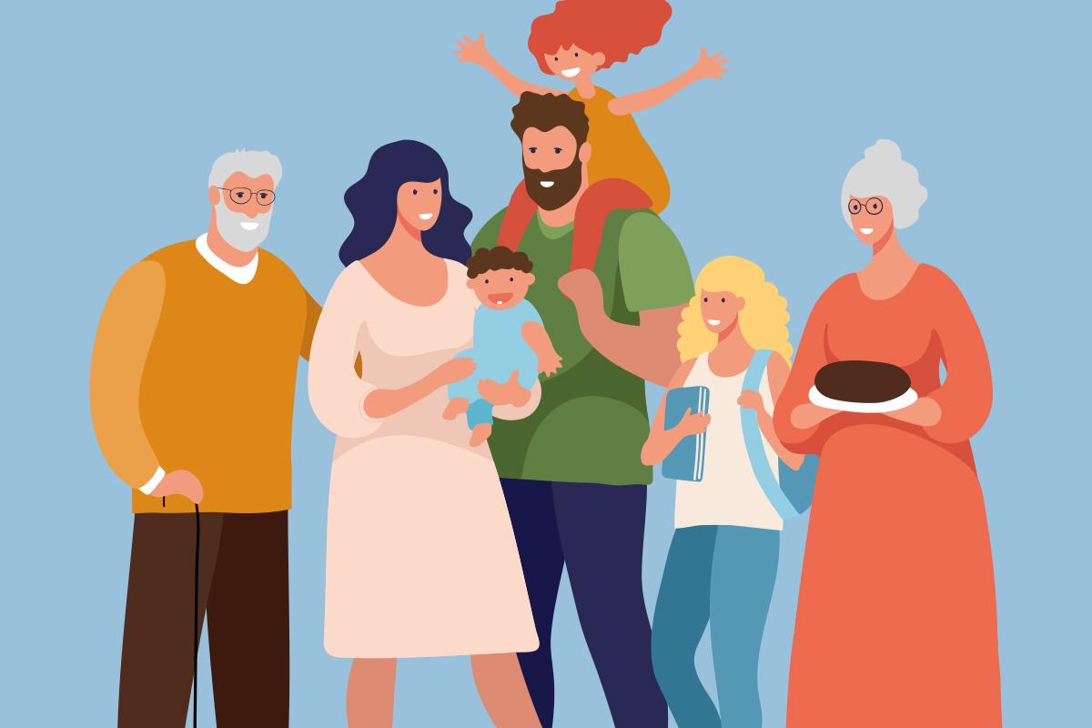 cartoon family blue background