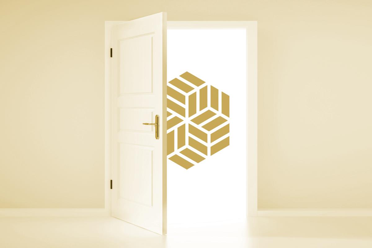 up close equilibrium logo gold open door